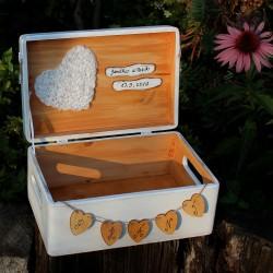 Dřevěná krabička na SVATEBNÍ PŘÁNÍ sněženka