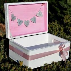 Dřevěná krabička na SVATEBNÍ PŘÁNÍ růže