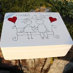Dřevěná krabička ZAMILOVANÁ LAVIČKA