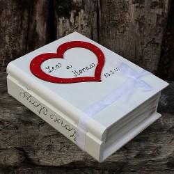 Svatební dřevěná krabička kniha LOVE STORY