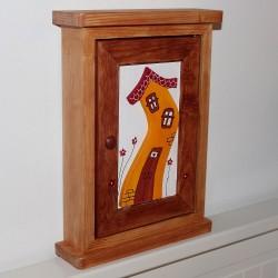Dřevěná skříňka na klíče DOMEČEK přírodní