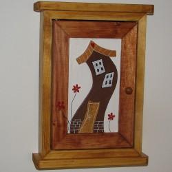 Dřevěná skříňka na klíče DOMEČEK roubený