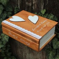 Svatební dřevěná krabička KNIHA přírodní