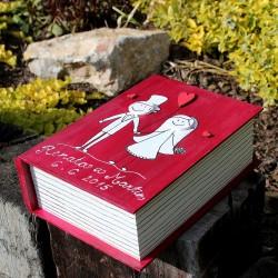 Svatební dřevěná kniha Monsieur a Madame