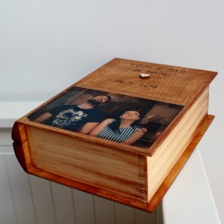 Svatební dřevěná krabička KNIHA s vlastním FOTEM