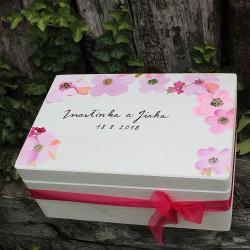 Dřevěná krabička na SVATEBNÍ PŘÁNÍ BOHO