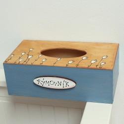 Dřevěná krabička na kapesníky TULIPÁNY
