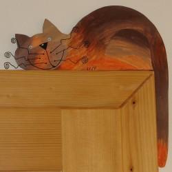 Dřevěná dekorace KOČKA hnědý mourek