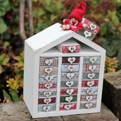 Dřevěný adventní kalendář domeček bílý
