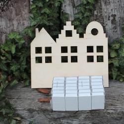 Dřevěný adventní kalendář DOMEČKY k dotvoření