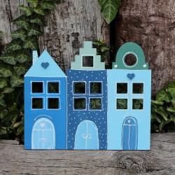Dřevěný adventní kalendář HOME modrý