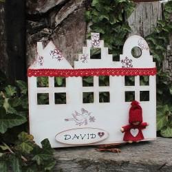 Dřevěný adventní kalendář domečky HOME  bílý