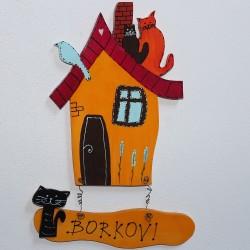Dřevěná cedulka na dveře MÁME RÁDI KOČKY