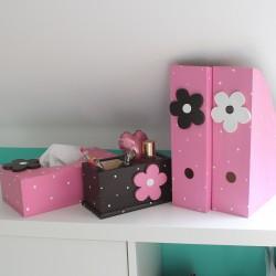 Dřevěná sada na pracovní stůl KVĚTINA v růžové