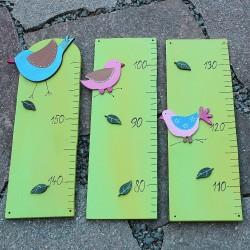 Dřevěný dětský metr ptačí sněm zelený