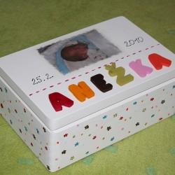KRABICE na vzpomínky kytičky - dárek k narození miminka
