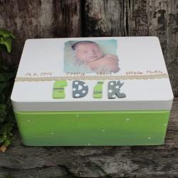 KRABICE na vzpomínky zelená - dárek k narození miminka