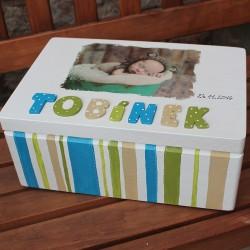 KRABICE na vzpomínky pruhovaná - dárek k narození miminka