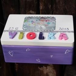 KRABICE na vzpomínky fialová - dárek k narození miminka