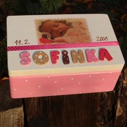 KRABICE na vzpomínky růžová - dárek k narození miminka