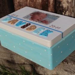 KRABICE na vzpomínky modrá - dárek k narození miminka