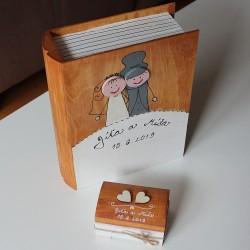 Svatební dřevěná krabička KNIHA retro