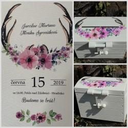 Dřevěná ÓBR svatební pokladnička květinové parohy