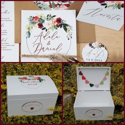 Velká svatební truhla BURGUNDY na peněžité dary