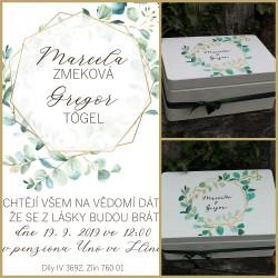 Svatební krabička na přání a peníze diamant z lesa
