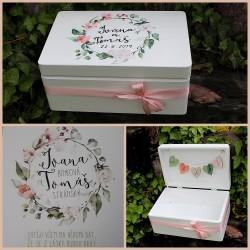 Dřevěná SVATEBNÍ krabička na přání a dary AKVAREL