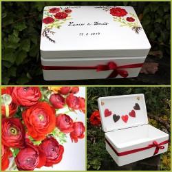 Dřevěná SVATEBNÍ krabička na přání a dary RANUNCULUS