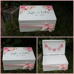 Dřevěná SVATEBNÍ krabička na přání a dary RŮŽENKA