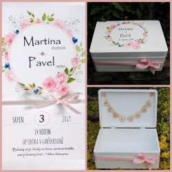 Dřevěná SVATEBNÍ krabička na přání a dary POEZIE