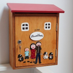 Dřevěná poštovní schránka RODINA se psy