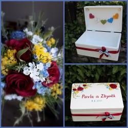Dřevěná SVATEBNÍ krabička na přání a dary veselka