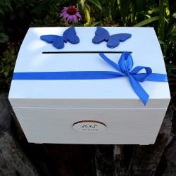 LUXUSNÍ pokladnice SVATEBNÍ motýlí královská modrá