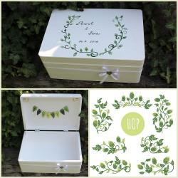 Dřevěná SVATEBNÍ krabička na přání a dary CHMELAŘI