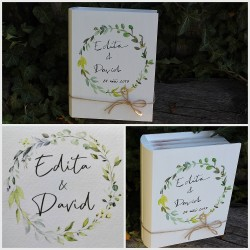 Dřevěná krabička KNIHA se svatebním oznámením
