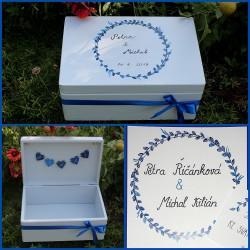 Dřevěná SVATEBNÍ krabička na přání a dary MODROTISK