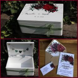 Dřevěná SVATEBNÍ krabička na přání a dary BORDÓ