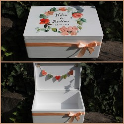 Dřevěná SVATEBNÍ krabička na přání a dary AKVAREL II.