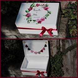 Dřevěná SVATEBNÍ krabička na přání a dary AKVAREL III.