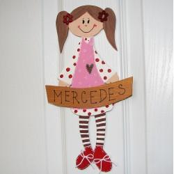 Dřevěná cedulka na dveře malé SLEČNY - Mercedes