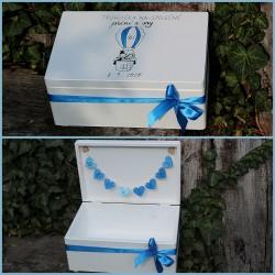 Dřevěná SVATEBNÍ krabička na přání a dary létající balón