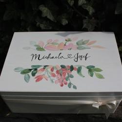 Dřevěná SVATEBNÍ krabička na vzpomínky akvarel