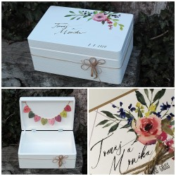 Dřevěná svatební krabička na přání a dary DREAM