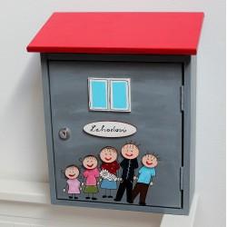 Dřevěná poštovní schránka antracit - domeček