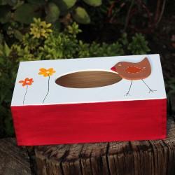 Dřevěná krabička na kapesníky červená PTAČÍ