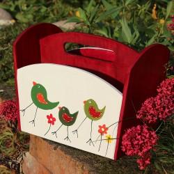 Dřevěný stojan na příbory červený ptačí