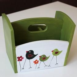 Dřevěný stojan na příbory zelený ptačí